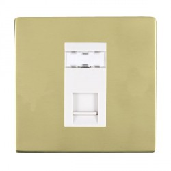 Hamilton Sheer CFX Polished Brass 1 Gang RJ45 Outlet Cat 5e Unshielded with White Insert