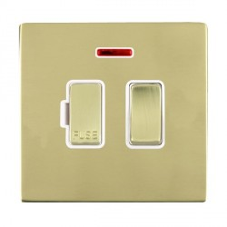 Hamilton Sheer CFX Polished Brass 1 Gang 13A Fused Spur, Double Pole + Neon with White Insert