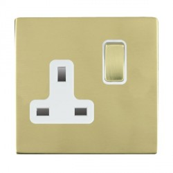 Hamilton Sheer CFX Polished Brass 1 Gang 13A Switched Socket - Double Pole with White Insert