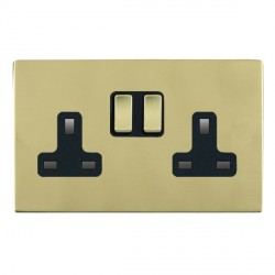 Hamilton Sheer CFX Polished Brass 2 Gang 13A Switched Socket - Double Pole with Black Insert