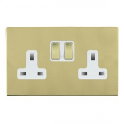 Hamilton Sheer CFX Polished Brass 2 Gang 13A Switched Socket - Double Pole with White Insert