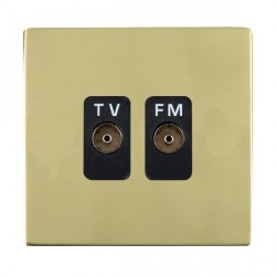 Hamilton Sheer CFX Polished Brass 2 Gang Isolated Television/FM 1in/2out with Black Insert