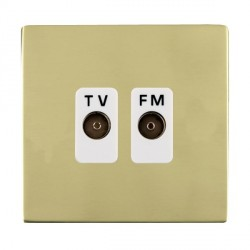 Hamilton Sheer CFX Polished Brass 2 Gang Isolated Television/FM 1in/2out with White Insert