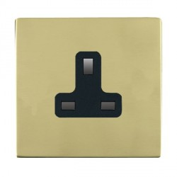 Hamilton Sheer CFX Polished Brass 1 Gang 13A Unswitched Socket with Black Insert