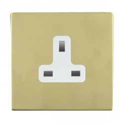 Hamilton Sheer CFX Polished Brass 1 Gang 13A Unswitched Socket with White Insert