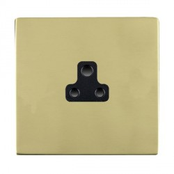 Hamilton Sheer CFX Polished Brass 1 Gang 2A Unswitched Socket with Black Insert