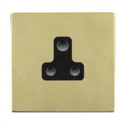 Hamilton Sheer CFX Polished Brass 1 Gang 5A Unswitched Socket with Black Insert