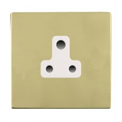 Hamilton Sheer CFX Polished Brass 1 Gang 5A Unswitched Socket with White Insert