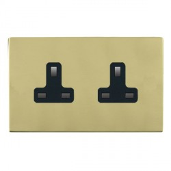 Hamilton Sheer CFX Polished Brass 2 Gang 13A Unswitched Socket with Black Insert