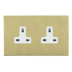 Hamilton Sheer CFX Polished Brass 2 Gang 13A Unswitched Socket with White Insert
