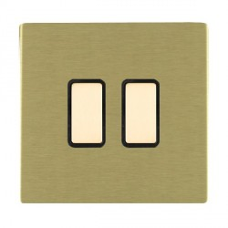 Hamilton Sheer CFX Satin Brass 2 Gang Multi way Touch Master Trailing Edge with Black Insert