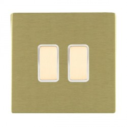 Hamilton Sheer CFX Satin Brass 2 Gang Multi way Touch Slave Trailing Edge with White Insert