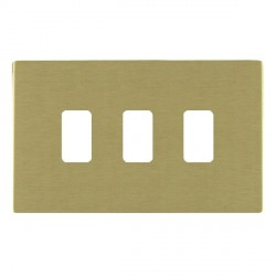 Hamilton Sheer CFX Grid Satin Brass 3 Gang Concealed Fix Grid Fix Aperture Plate with Grid