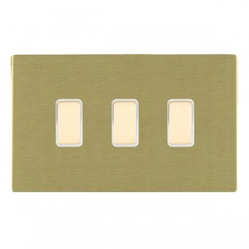 Hamilton Sheer CFX Satin Brass 3 Gang Multi way Touch Master Trailing Edge with White Insert