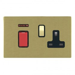 Hamilton Sheer CFX Satin Brass 1 Gang Double Pole 45A Red Rocker + 13A Switched Socket with Black Insert