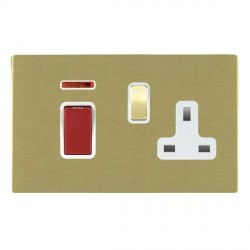Hamilton Sheer CFX Satin Brass 1 Gang Double Pole 45A Red Rocker + 13A Switched Socket with White Insert