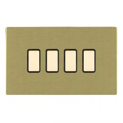 Hamilton Sheer CFX Satin Brass 4 Gang Multi way Touch Slave Trailing Edge with Black Insert