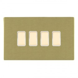 Hamilton Sheer CFX Satin Brass 4 Gang Multi way Touch Slave Trailing Edge with White Insert