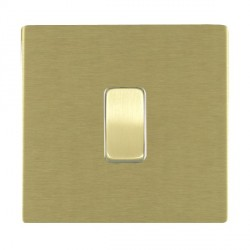 Hamilton Sheer CFX Satin Brass 1 Gang Push To Make Retractive Rocker with White Insert