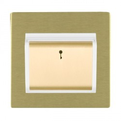 Hamilton Sheer CFX Satin Brass 1 Gang On/Off 10A Card Switch with Blue LED Locator with White Insert