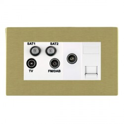 Hamilton Sheer CFX Satin Brass TV+FM+SAT+SAT (DAB Compatible)+TV+TCS (DAB Compatible) with White Insert