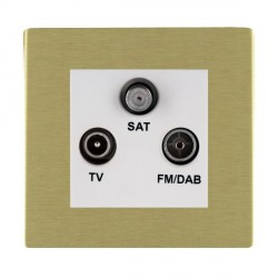 Hamilton Sheer CFX Satin Brass TV+FM+SAT (DAB Compatible) with White Insert