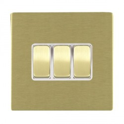 Hamilton Sheer CFX Satin Brass 3 Gang 10amp 2 Way Rocker with White Insert