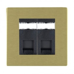 Hamilton Sheer CFX Satin Brass 2 Gang RJ12 Outlet Unshielded with Black Insert