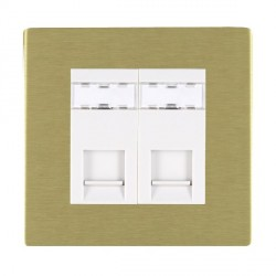 Hamilton Sheer CFX Satin Brass 2 Gang RJ12 Outlet Unshielded with White Insert
