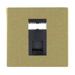Hamilton Sheer CFX Satin Brass 1 Gang RJ12 Outlet Unshielded with Black Insert