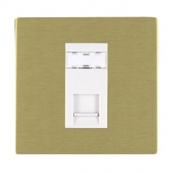 Hamilton Sheer CFX Satin Brass 1 Gang RJ45 Outlet Cat 5e Unshielded with White Insert