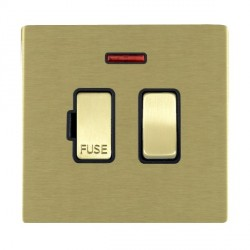 Hamilton Sheer CFX Satin Brass 1 Gang 13A Fused Spur, Double Pole + Neon with Black Insert