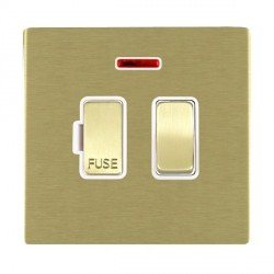 Hamilton Sheer CFX Satin Brass 1 Gang 13A Fused Spur, Double Pole + Neon with White Insert