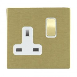Hamilton Sheer CFX Satin Brass 1 Gang 13A Switched Socket - Double Pole with White Insert