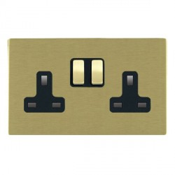 Hamilton Sheer CFX Satin Brass 2 Gang 13A Switched Socket - Double Pole with Black Insert