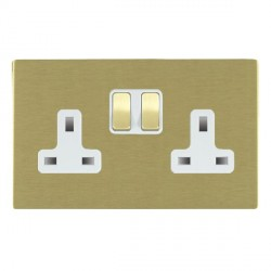 Hamilton Sheer CFX Satin Brass 2 Gang 13A Switched Socket - Double Pole with White Insert
