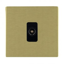 Hamilton Sheer CFX Satin Brass 1 Gang Non Isolated Television 1in/1out with Black Insert