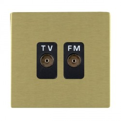 Hamilton Sheer CFX Satin Brass 2 Gang Isolated Television/FM 1in/2out with Black Insert