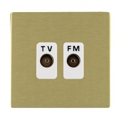 Hamilton Sheer CFX Satin Brass 2 Gang Isolated Television/FM 1in/2out with White Insert