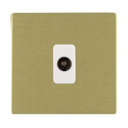 Hamilton Sheer CFX Satin Brass 1 Gang Non Isolated Television 1in/1out with White Insert