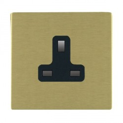 Hamilton Sheer CFX Satin Brass 1 Gang 13A Unswitched Socket with Black Insert