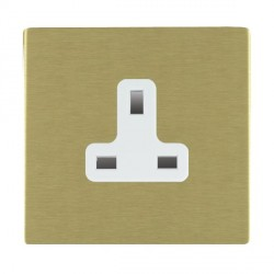 Hamilton Sheer CFX Satin Brass 1 Gang 13A Unswitched Socket with White Insert
