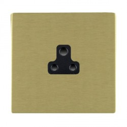 Hamilton Sheer CFX Satin Brass 1 Gang 2A Unswitched Socket with Black Insert