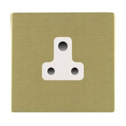 Hamilton Sheer CFX Satin Brass 1 Gang 5A Unswitched Socket with White Insert