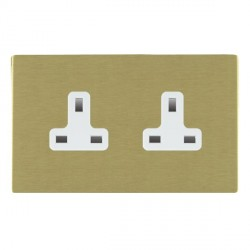 Hamilton Sheer CFX Satin Brass 2 Gang 13A Unswitched Socket with White Insert