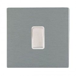 Hamilton Sheer CFX Satin Steel 1 Gang Multi way Touch Master Trailing Edge with White Insert