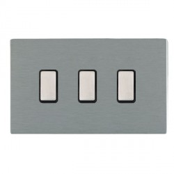 Hamilton Sheer CFX Satin Steel 3 Gang Multi way Touch Master Trailing Edge with Black Insert