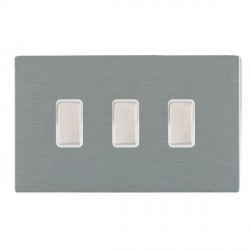Hamilton Sheer CFX Satin Steel 3 Gang Multi way Touch Master Trailing Edge with White Insert