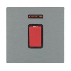 Hamilton Sheer CFX Satin Steel 1 Gang 45A Double Pole Red Rocker + neon with Black Insert
