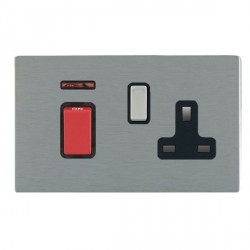 Hamilton Sheer CFX Satin Steel 1 Gang Double Pole 45A Red Rocker + 13A Switched Socket with Black Insert
